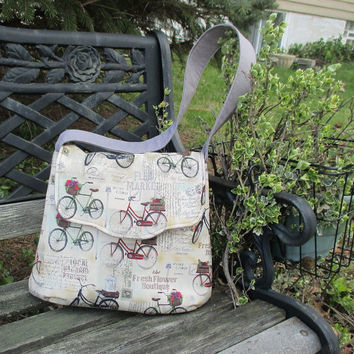 Beige Shoulder Bag , Purse with Bikes , Purse With Text