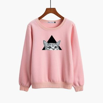 Cute Sportswear Cat Printing Hoodie 2017 Autumn Winter Female Tops Cotton Sweatshirt Woman Couples Loose Causal Pullovers Loose