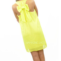 Lovelies Lane Yellow Neon Bow Back Dress