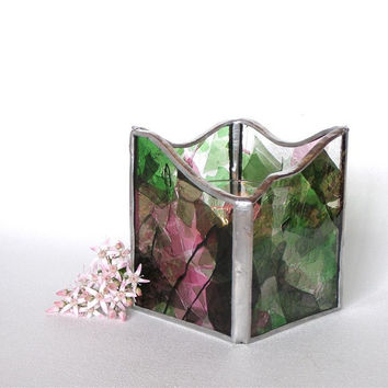 Stained Glass Candle Holder or Candle Lantern - Pink and Green - Votive or Tea Candle