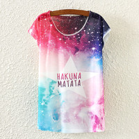 White Short Sleeve Starry Sky Print T-Shirt