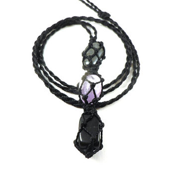 Recovery necklace, hematite pendant, macrame necklace, amethyst choker, unique jewelry, black onyx necklace, crystal healing, wrapmeacrystal