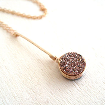 Rose Gold Druzy Pendulum Necklace by Vitrine Fall jewelry gift for her champagne