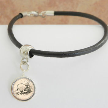 Winnie-the-Pooh charm on leather cord bracelet navigation nautical gift