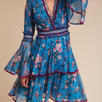 Blue V-neck Floral Flared Sleeve Layered Dress