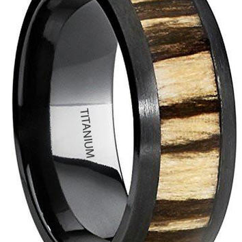 8MM Black Titanium Wedding Band Ring with Real Zebra Wood Inlay, Dome, Comfort Fit
