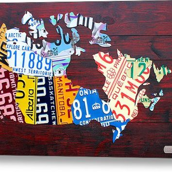 License Plate Map Of Canada Metal Print