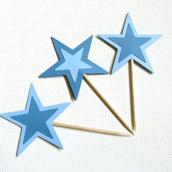18 Cupcake Toppers, Party Picks, Blue Stars