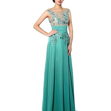 Women's Long Chiffon Prom Party Dresses Applique Ball Bridesmaid Gowns