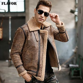 Men's real leather jacket motorcycle pigskin Genuine Leather jackets warm coat Aviator jacket flight bomber jacket