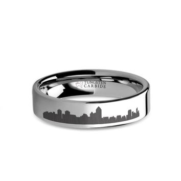 Albuquerque City Skyline Cityscape Laser Engraved Tungsten Ring
