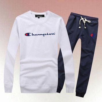 ONETOW Champion Woman Men Long Sleeve Shirt Top Tee Pants Trousers Set Two-Piece Sportswear