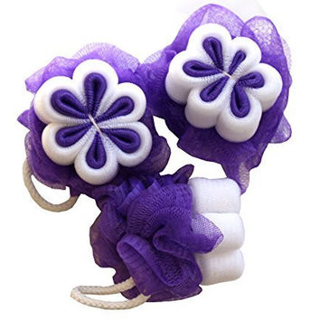 Bath and Shower Mesh Sponge Purple Pouf set of 3 with Gentle Exfoliating Flower Design for Women and Girls