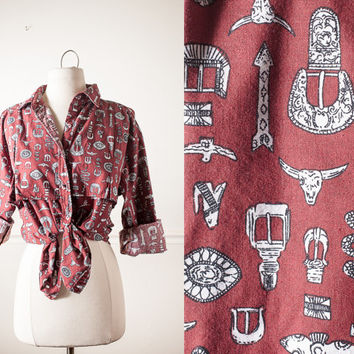 Vintage Western Shirt | Southwestern Print Rockabilly 80s Shirt 1980s Cowgirl Cowboy Rodeo Horses 80s Blouse 80s Top Button Down Retro Boho
