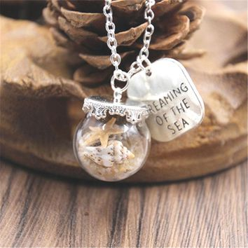 10pcs Miniature Beach Globe Sand Starfish silver tone Necklace Tiny  Beach Glass Jewelry  Vial Jewellery