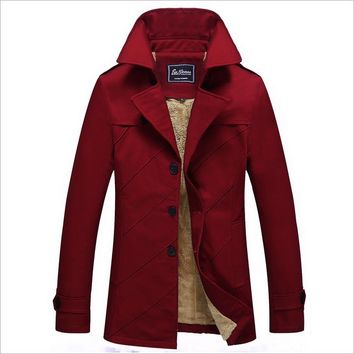 New Men's Trench Spring And Fall Male Long Section Windbreaker Cotton men's Coat Thick Plus Velvet Big Yards Solid Color Fashion