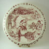 Vintage Vernon Kilns Decorative Souvenir Plate, 10 1/2 Inch Across, Cherokee Indian Reservation, Red Transferware Wall Plate