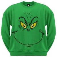 Dr. Seuss - Grinch Face Crew Sweatshirt - Large