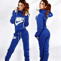 Nike Fashion Drawstring Sport Running Hoodie Pants  Set Two-Piece Sportswear