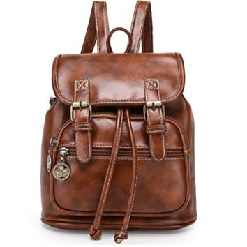 Sturdy Leather Backpack School Bag Travel Daypack Brown