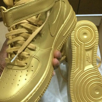 check out 39e85 83dfa Custom Gold Nike Air Force 1