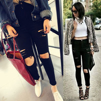 Black High Waist Jeans  Skinny Ripped Jeans For Women Boyfriend Jeans Elastic Black Ripped Jeans