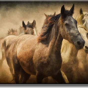 Beautiful Picture of Running Horses on Acrylic , Wall Art Décor, Ready to Hang