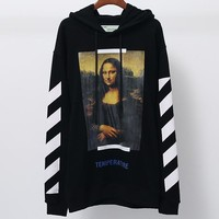 OFF-WHITE autumn and winter tide brand couple models Mona Lisa print hooded sweater Black