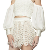 White Off Shoulder Puff Sleeve Crop Top And High Waist Lace Shorts