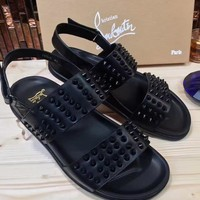 Christian Louboutin CL Spiked Sandals Black Men Shoes