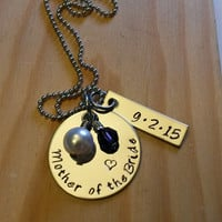 Hand Stamped Mother of the Bride Necklace - Mother of the Groom Necklace - Mother Gift -