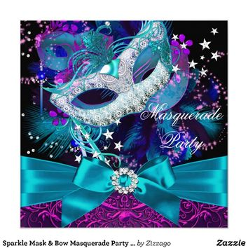 Sparkle Mask & Bow Masquerade Party Invitation Custom Invitations from Zazzle.com