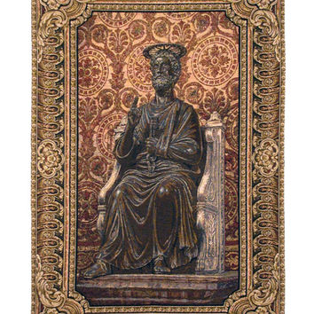 Bronze Statue of St. Pietro Tapestry Wall Art Hanging
