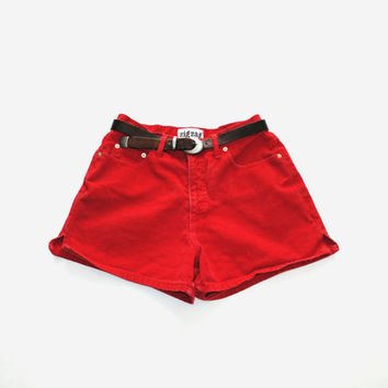 90s red denim shorts vintage high waisted side slit 1990s grunge red jean shorts