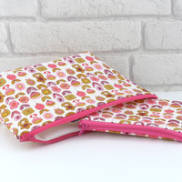 Pink Floral Make Up Bag Set // Wash Bag Set // Cosmetic Bag Gift Set