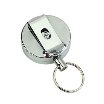 Retractable Metal Card Badge Holder Steel Recoil Ring Pull Belt Clip Key Chain Silver