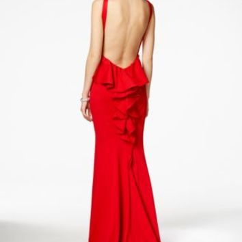 Xscape Open-Back Ruffled Gown | macys.com