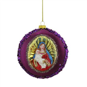 """4"""" Mary and Baby Jesus Sequin Religious Christmas Glass Disc Ornament"""