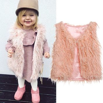 US Toddler Kid Baby Girl Faux Fur Tops Vest Warm Coat Outerwear Jacket Waistcoat