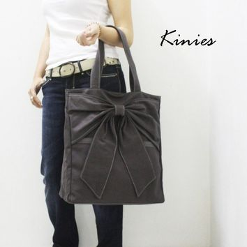 QT Canvas Tote in DARK GREY by Kinies on Etsy