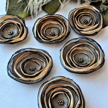 Black & Gold Organza Satin Glass Bead Flower Embellishment Appliques