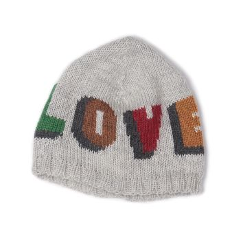 Grey LOVE Alpaca Wool Knit Hat