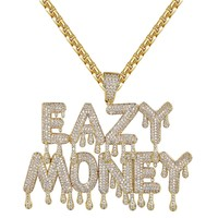 Iced Out Easy Money Dripping Letter Custom Pendant Chain