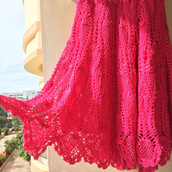 Crocheted Pink Midi Skirt, Knee length Handmade red Skirt, Pattern Skirt