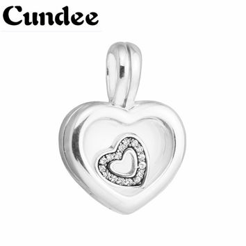 Floating Heart Locket Crystal Glass & Clear CZ Beads for Jewelry Making 925 Silver Jewelry 2017 Mother's Day Gifts