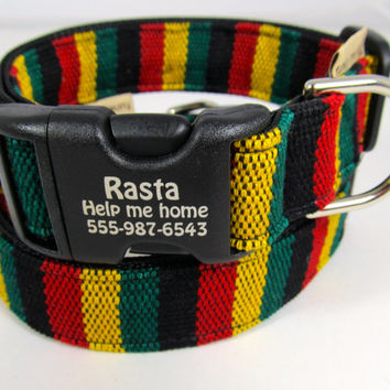 Rasta dog-- personalized collar in Jamaican style hand woven yarn dye