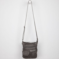 Washed Faux Leather Crossbody Bag Grey One Size For Women 22856011501