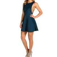 Sale-teal Open Side Skater Dress