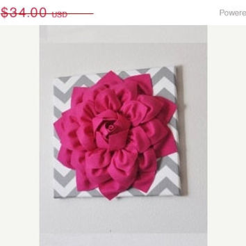 "MOTHERS DAY SALE Wall Flower -Hot Pink Dahlia on Gray and White Chevron 12 x12"" Canvas Wall Art- Baby Nursery Wall Decor-"