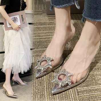 Fashion Crystal High-heeled Shoes Transparent Sun Button Sexy Fairy Wind Sandals